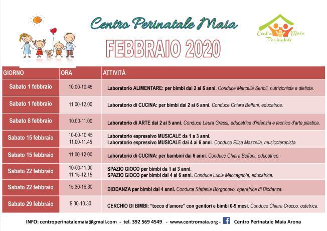 Calendario attività FEBBRAIO 2020
