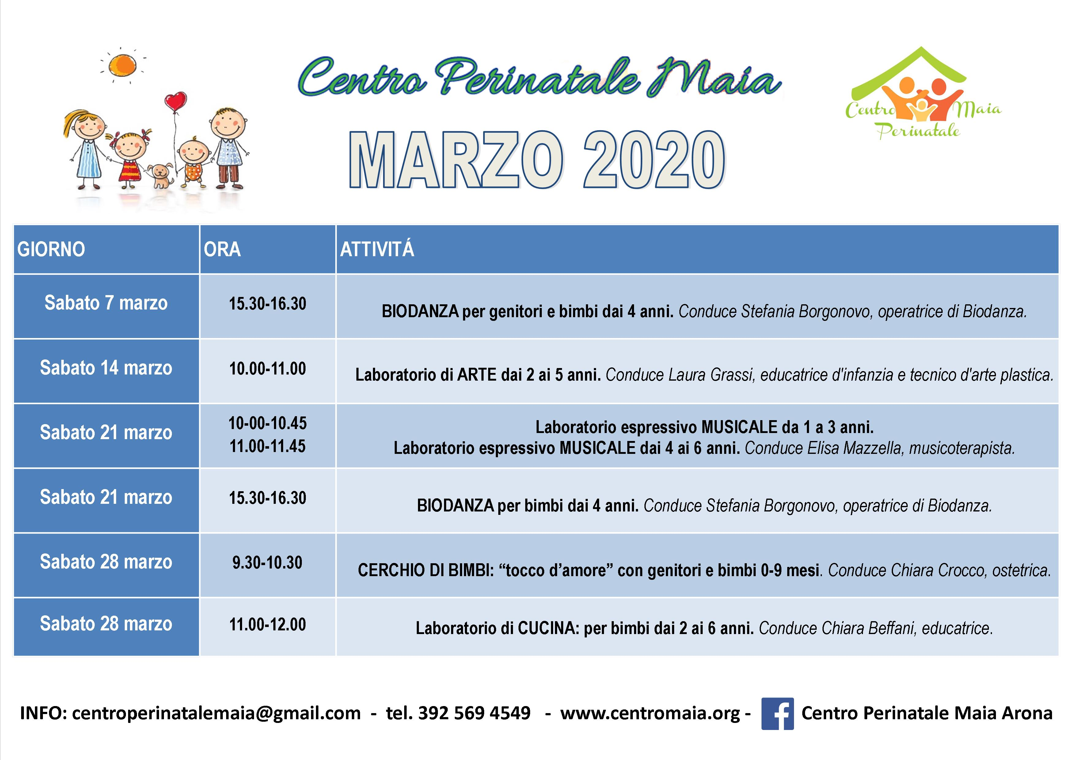 Calendario attività MARZO 2020